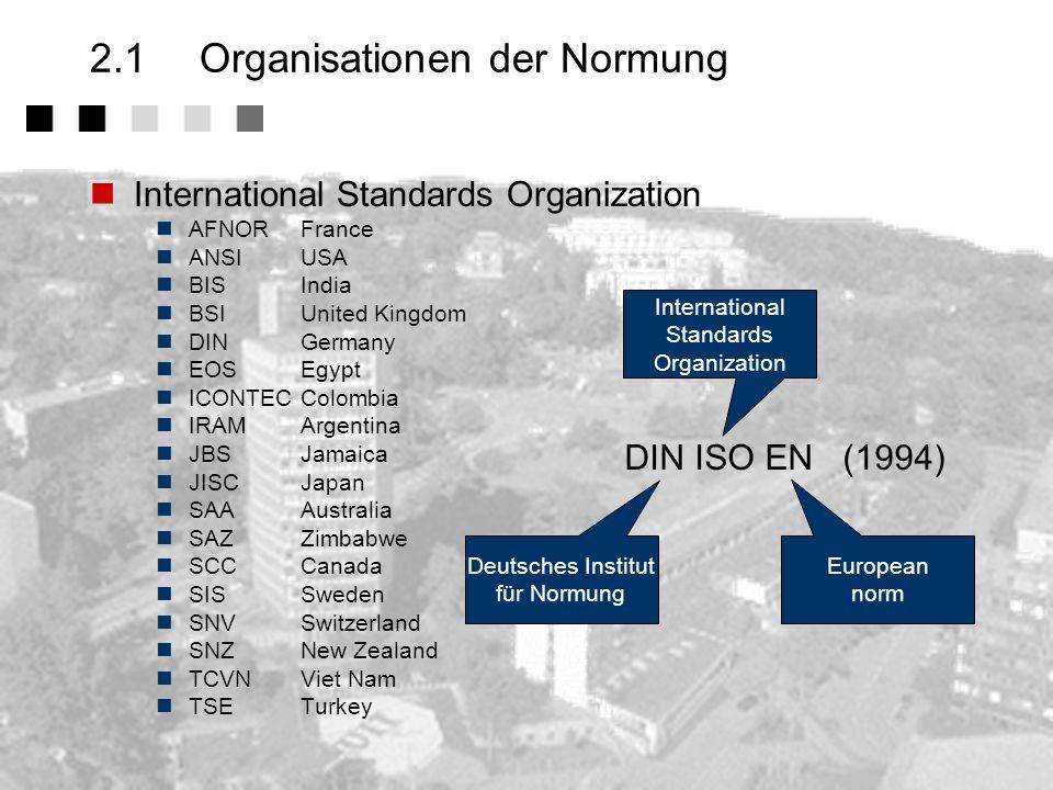 2.1 Organisationen der Normung