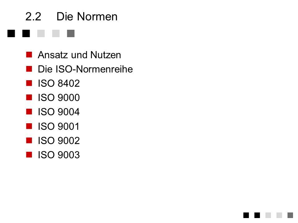 2.2 Die Normen Ansatz und Nutzen Die ISO-Normenreihe ISO 8402 ISO 9000