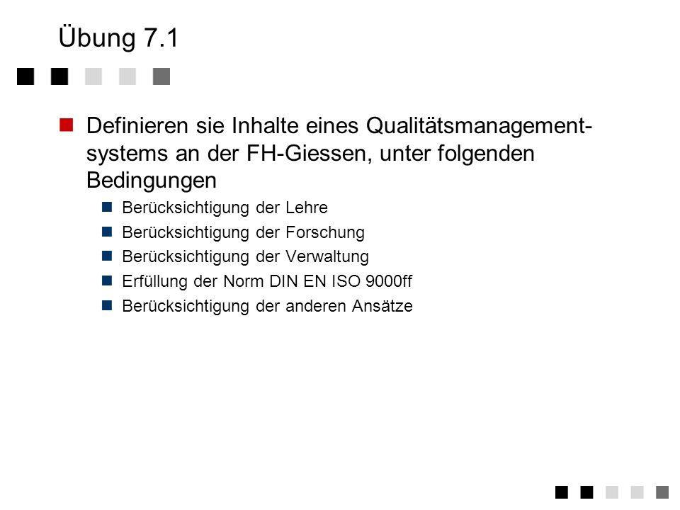 Übung 7.1Definieren sie Inhalte eines Qualitätsmanagement-systems an der FH-Giessen, unter folgenden Bedingungen.
