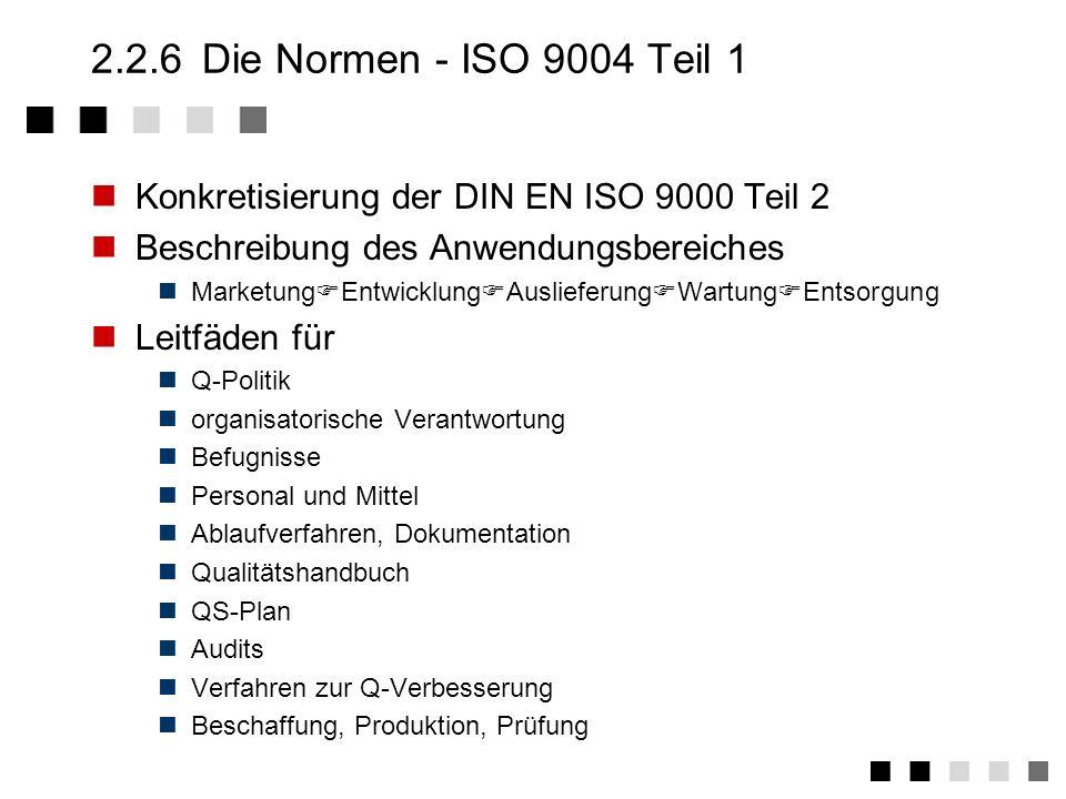 2.2.6 Die Normen - ISO 9004 Teil 1Konkretisierung der DIN EN ISO 9000 Teil 2. Beschreibung des Anwendungsbereiches.