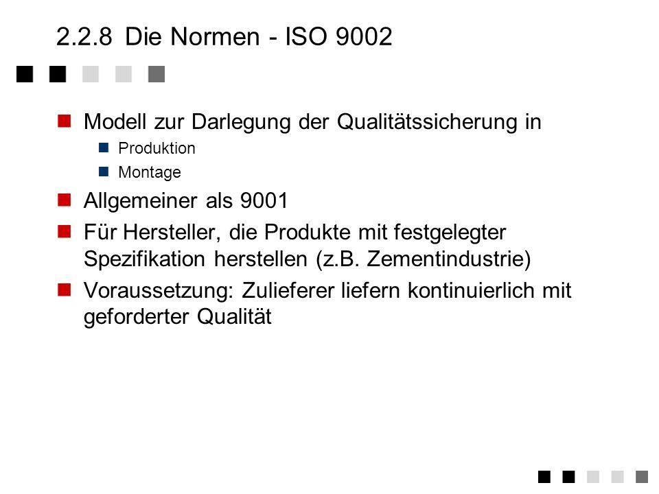 2.2.8 Die Normen - ISO 9002Modell zur Darlegung der Qualitätssicherung in. Produktion. Montage. Allgemeiner als 9001.