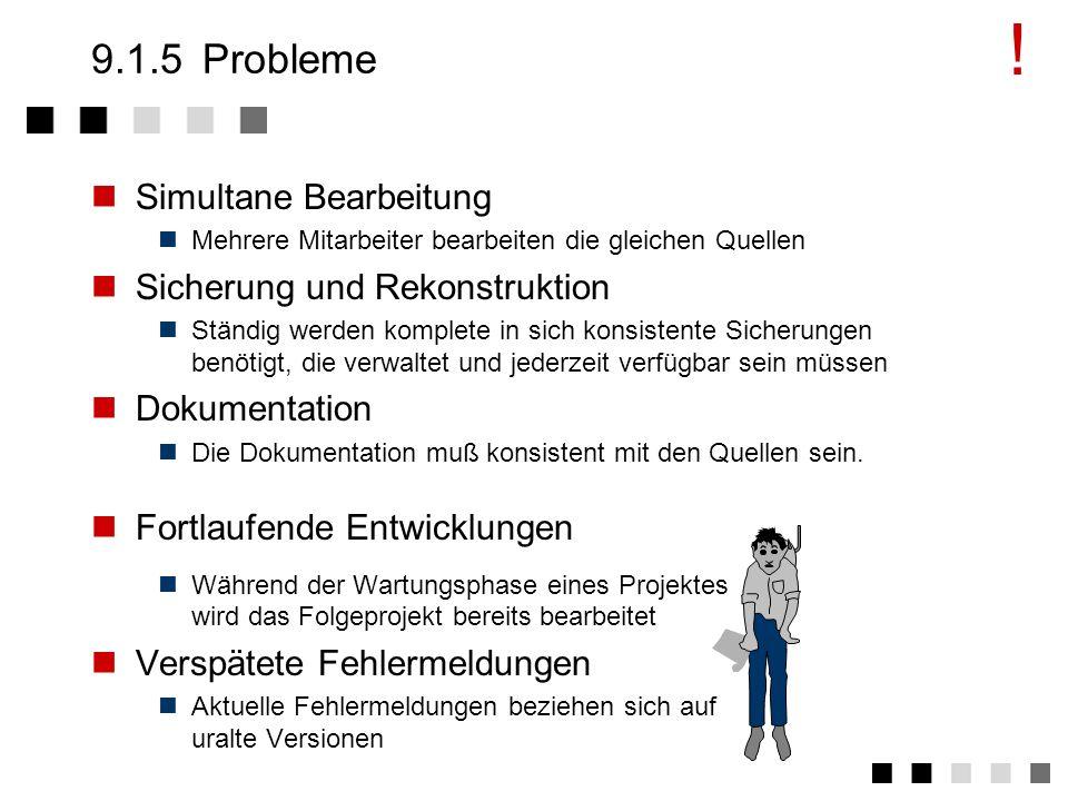 ! 9.1.5 Probleme Simultane Bearbeitung Sicherung und Rekonstruktion