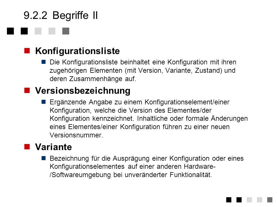 9.2.2 Begriffe II Konfigurationsliste Versionsbezeichnung Variante