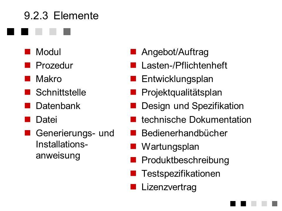 9.2.3 Elemente Modul Prozedur Makro Schnittstelle Datenbank Datei