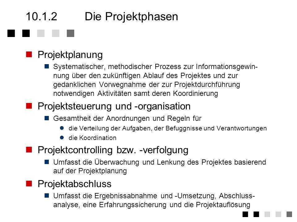 10.1.2 Die Projektphasen Projektplanung