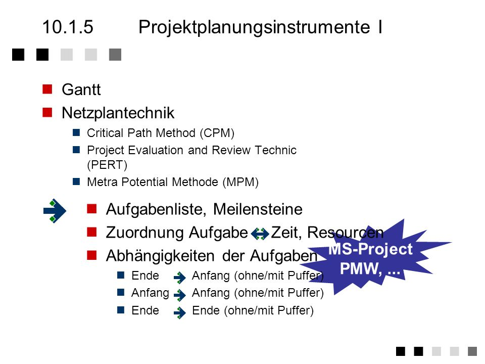 10.1.5 Projektplanungsinstrumente I