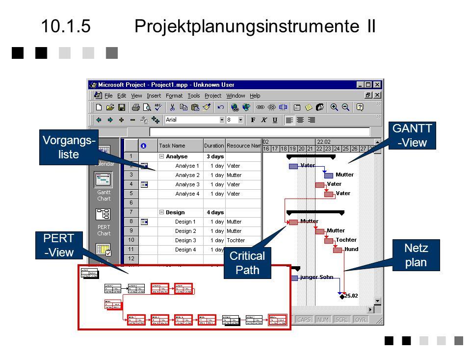 10.1.5 Projektplanungsinstrumente II