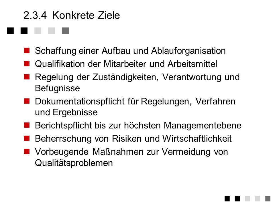2.3.4 Konkrete Ziele Schaffung einer Aufbau und Ablauforganisation