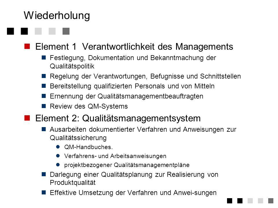 Wiederholung Element 1 Verantwortlichkeit des Managements