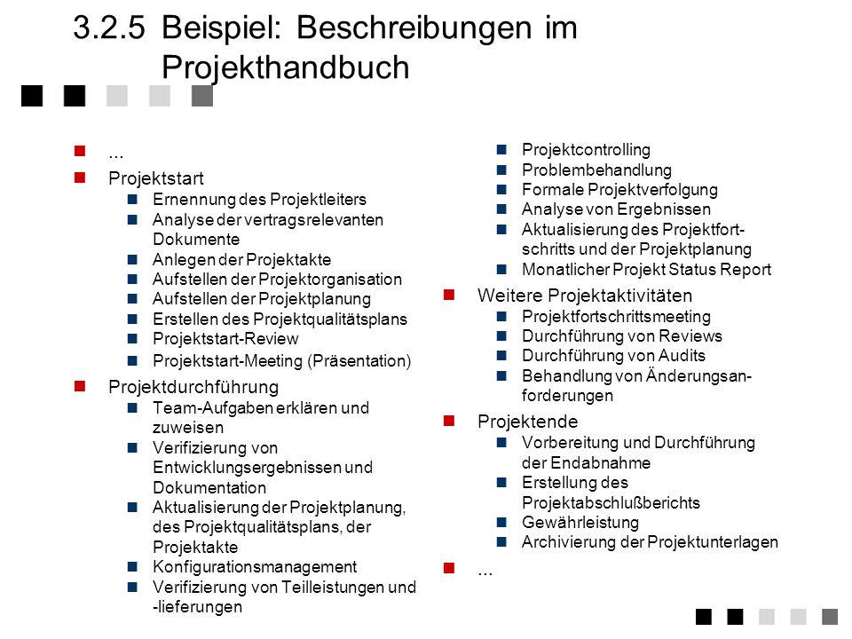 3.2.5 Beispiel: Beschreibungen im Projekthandbuch