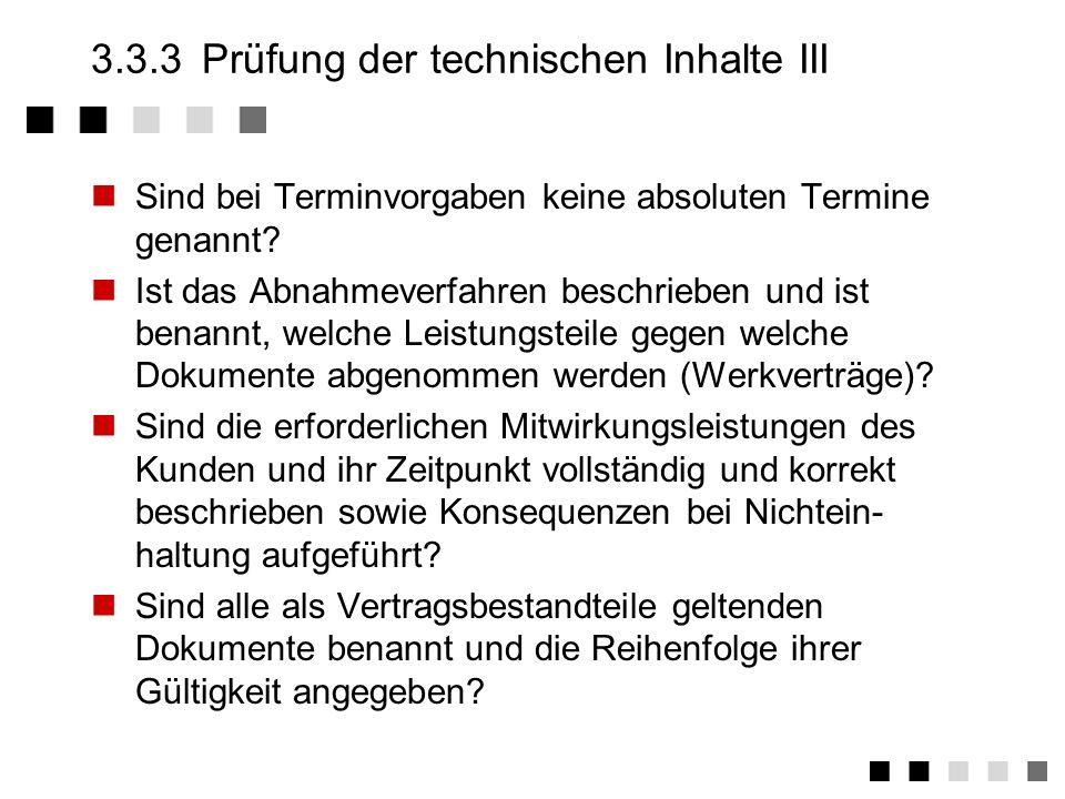 3.3.3 Prüfung der technischen Inhalte III