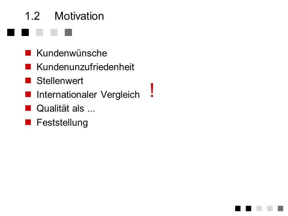 ! 1.2 Motivation Kundenwünsche Kundenunzufriedenheit Stellenwert