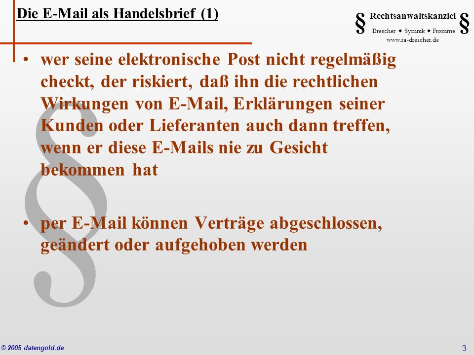 Die E-Mail als Handelsbrief (1)