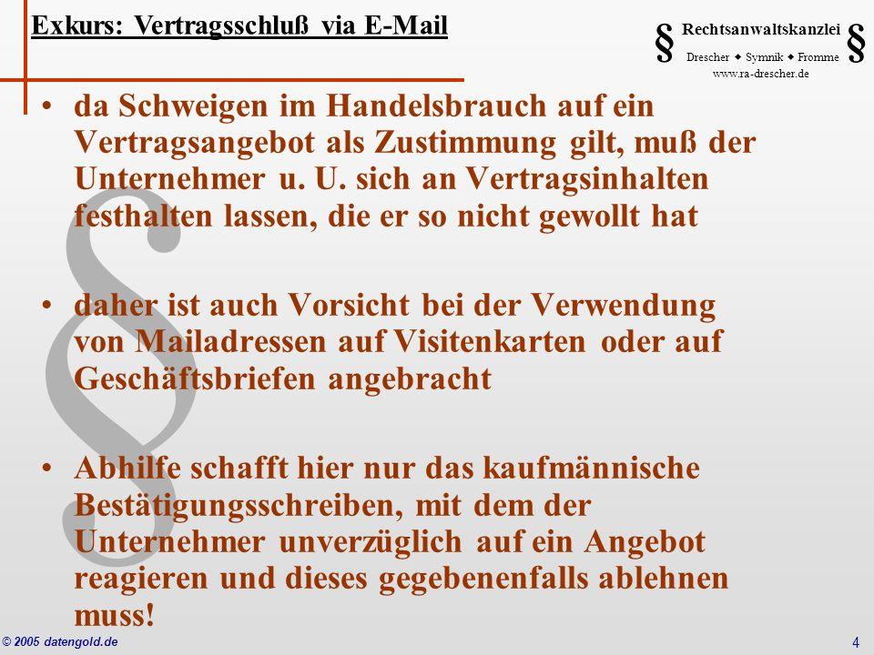 Exkurs: Vertragsschluß via E-Mail