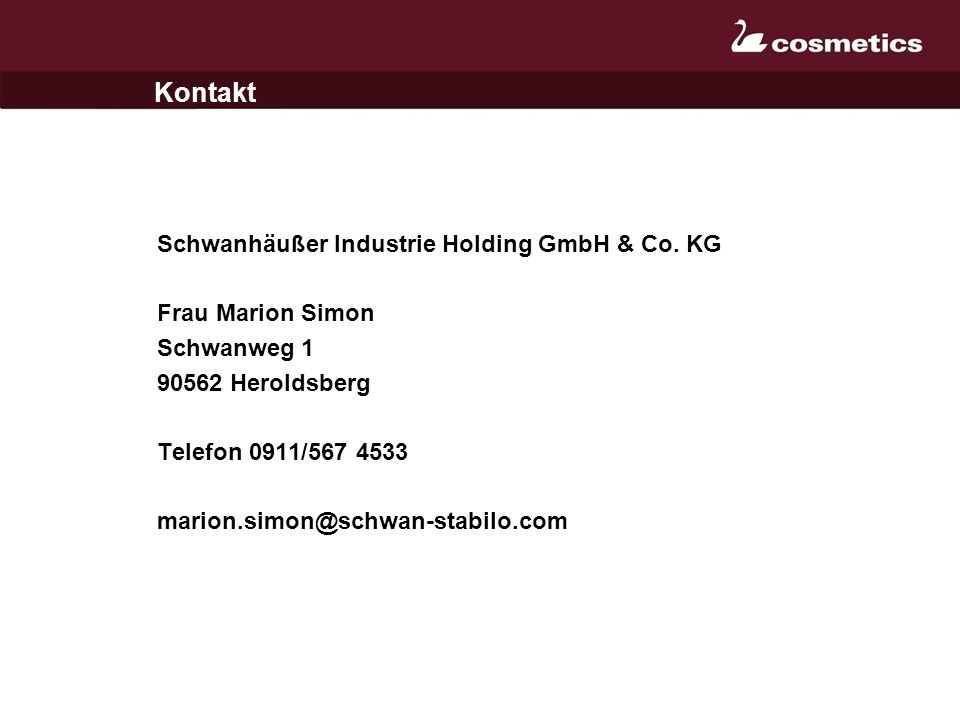 Kontakt Schwanhäußer Industrie Holding GmbH & Co. KG Frau Marion Simon