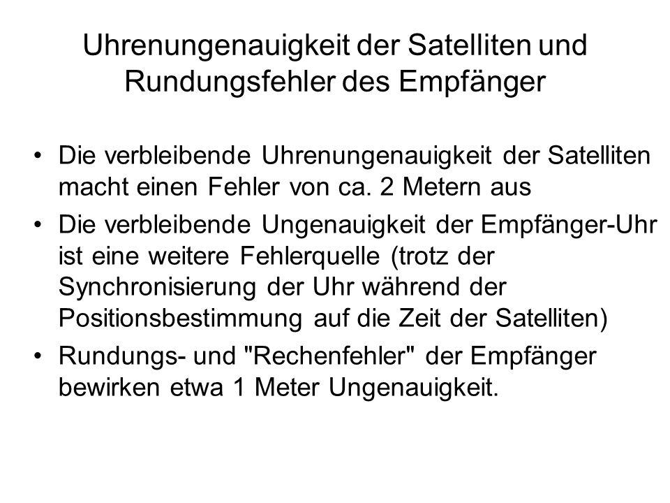 Uhrenungenauigkeit der Satelliten und Rundungsfehler des Empfänger