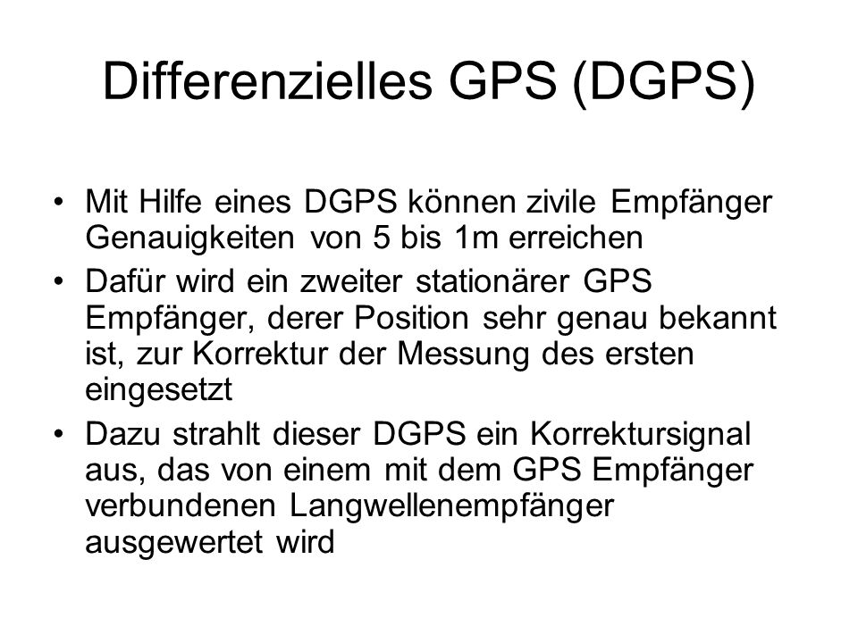 Differenzielles GPS (DGPS)