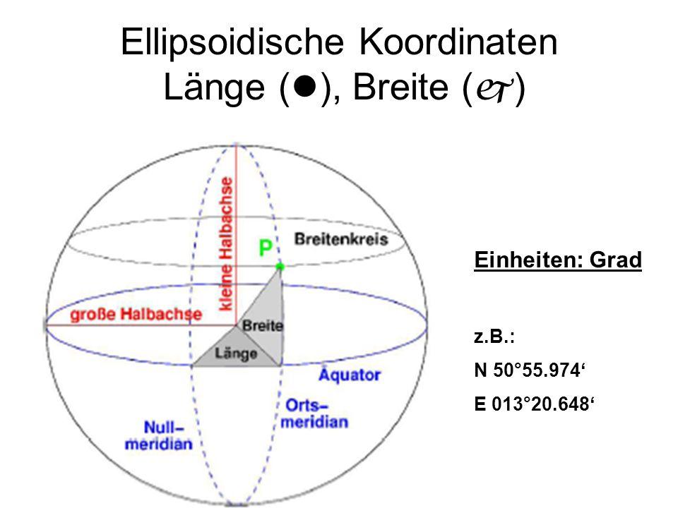 Ellipsoidische Koordinaten Länge (), Breite ()