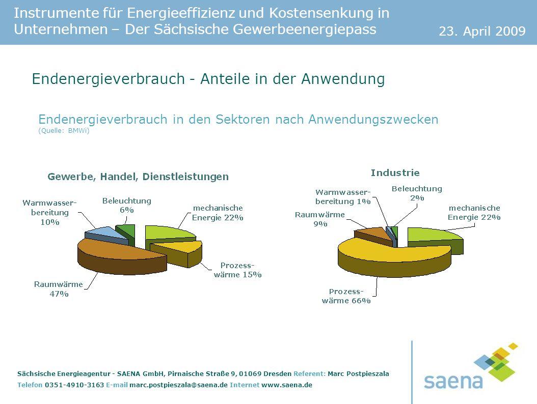 Endenergieverbrauch - Anteile in der Anwendung