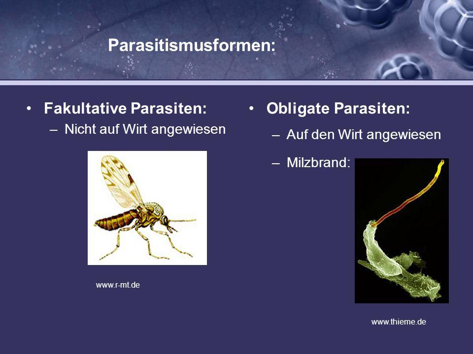Parasitismusformen: Fakultative Parasiten: Obligate Parasiten: