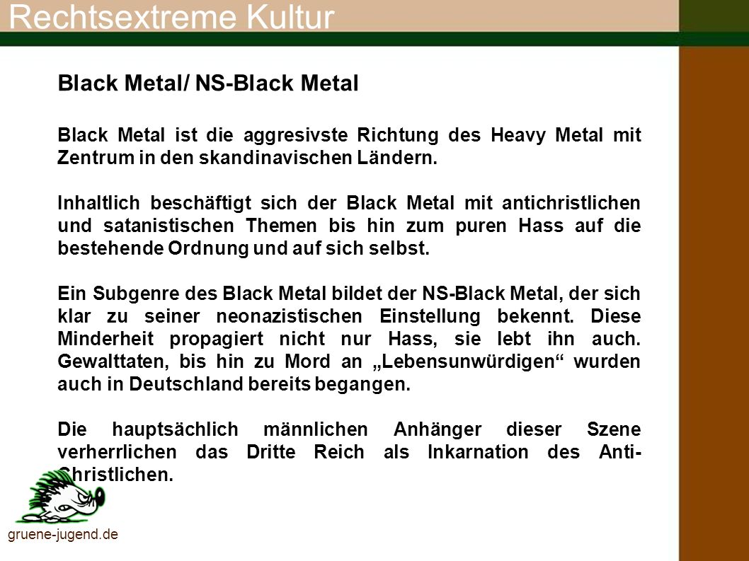 Rechtsextreme Kultur Black Metal/ NS-Black Metal