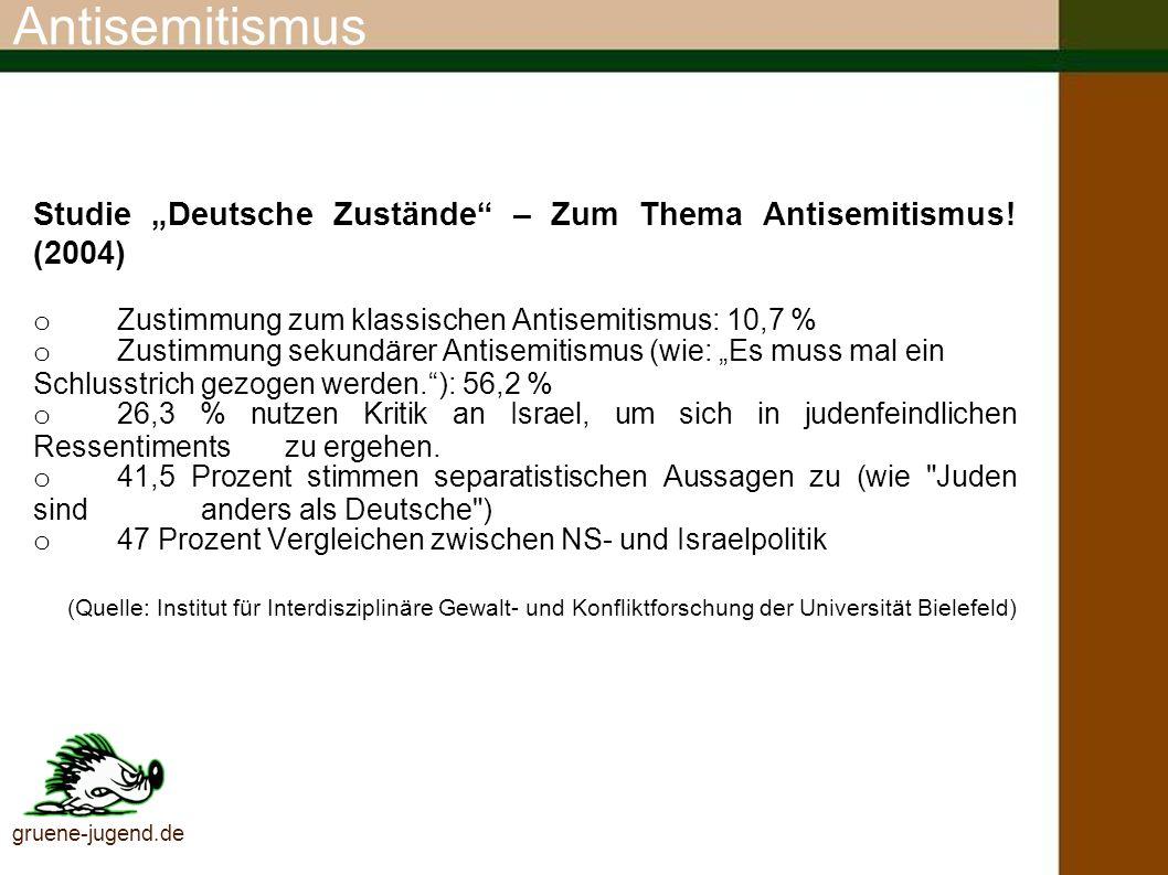 """AntisemitismusStudie """"Deutsche Zustände – Zum Thema Antisemitismus! (2004) o Zustimmung zum klassischen Antisemitismus: 10,7 %"""