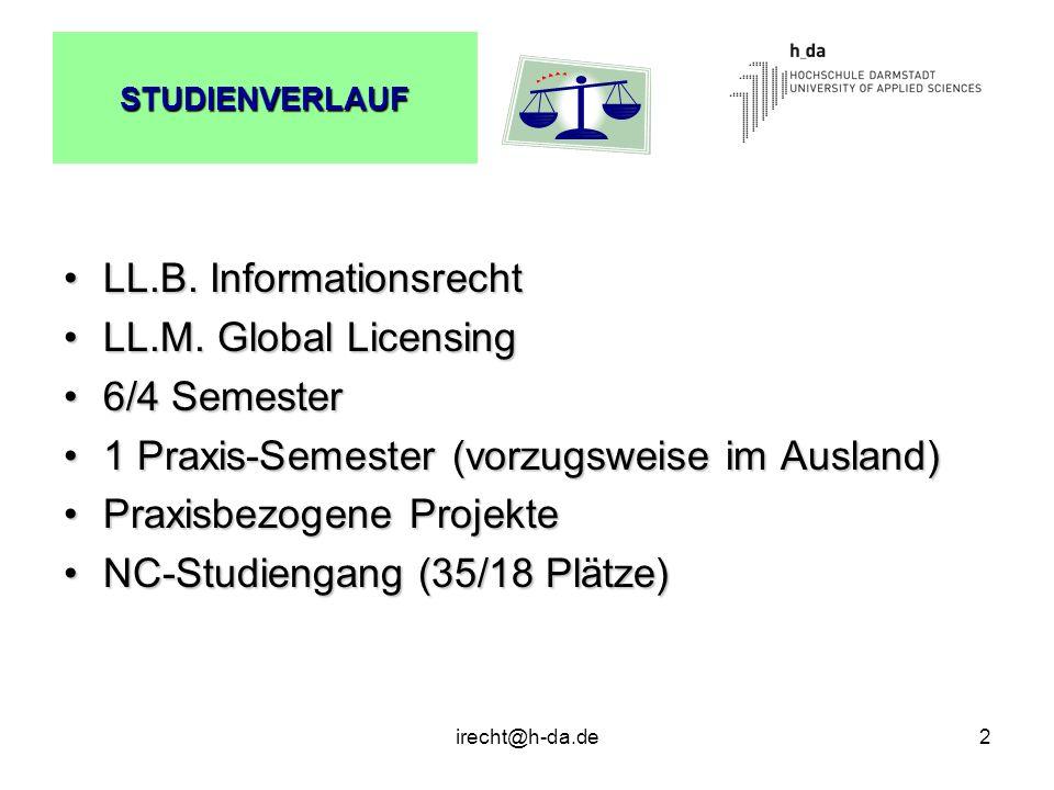 LL.B. Informationsrecht LL.M. Global Licensing 6/4 Semester