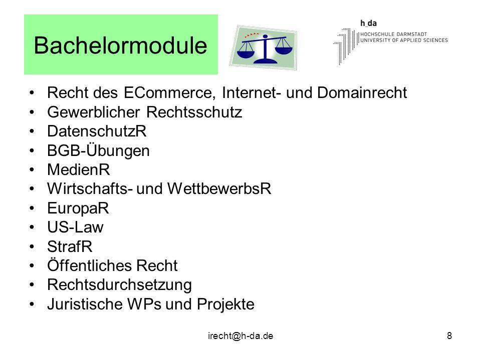 Bachelormodule Recht des ECommerce, Internet- und Domainrecht