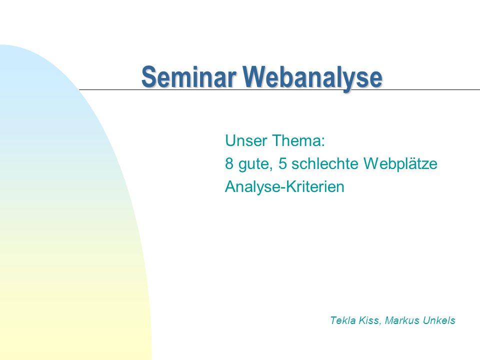 Seminar Webanalyse Unser Thema: 8 gute, 5 schlechte Webplätze