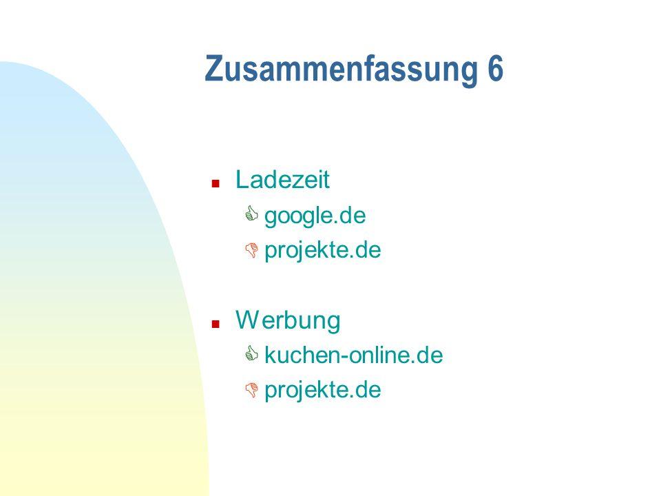 Zusammenfassung 6 Ladezeit Werbung google.de projekte.de