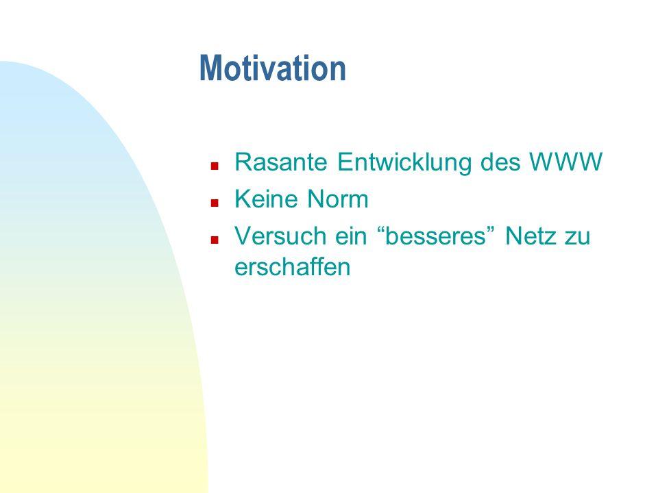 Motivation Rasante Entwicklung des WWW Keine Norm