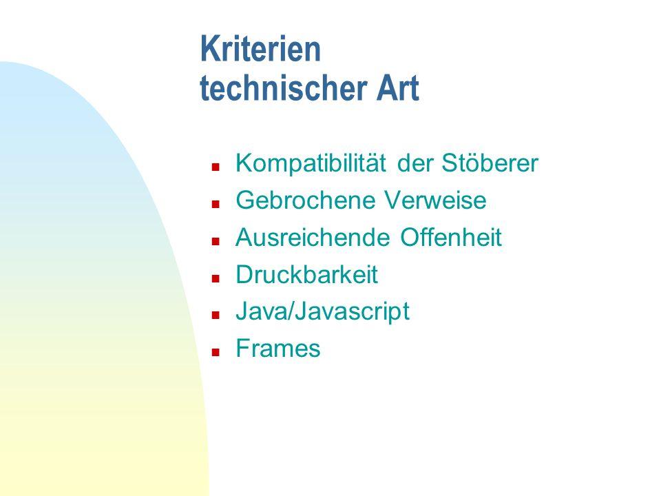 Kriterien technischer Art