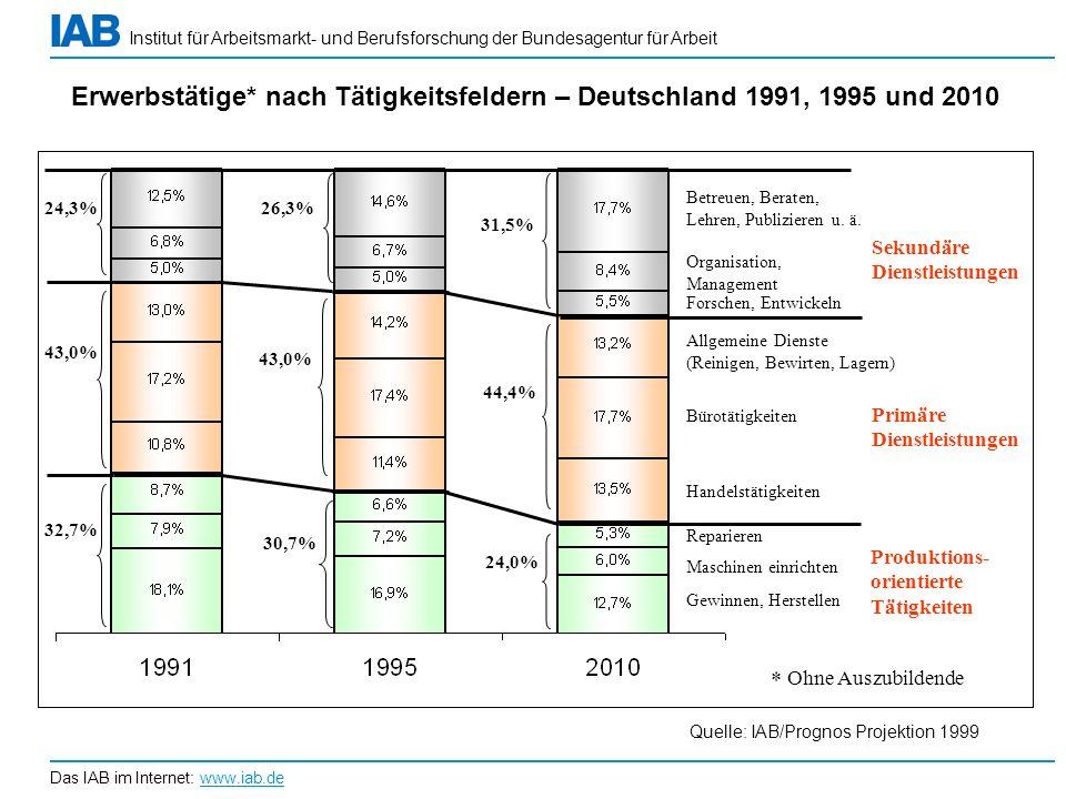 Erwerbstätige* nach Tätigkeitsfeldern – Deutschland 1991, 1995 und 2010