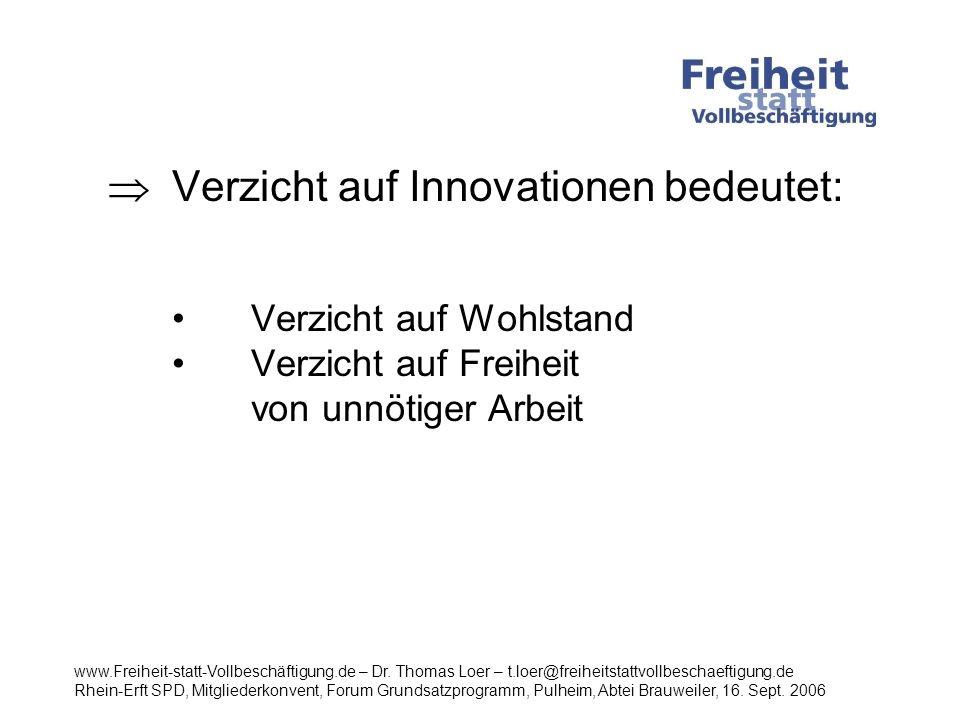 Verzicht auf Innovationen bedeutet: