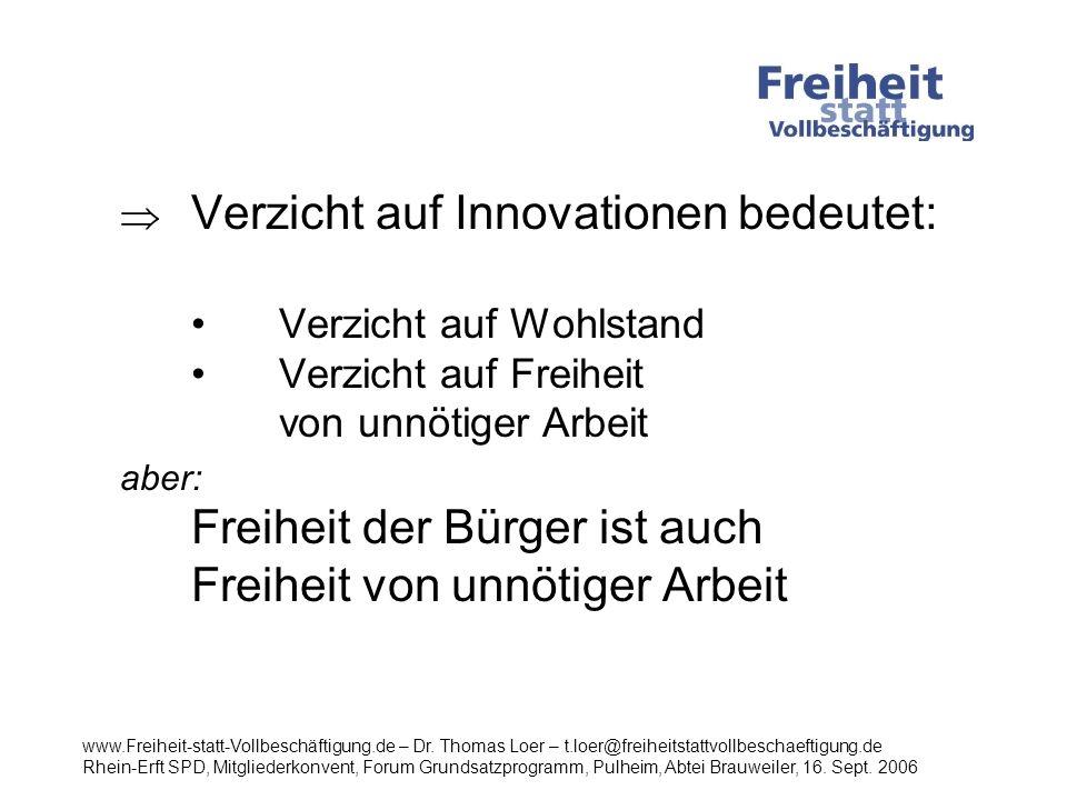 . Verzicht auf Innovationen bedeutet: •. Verzicht auf Wohlstand •