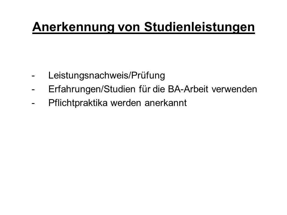 Anerkennung von Studienleistungen
