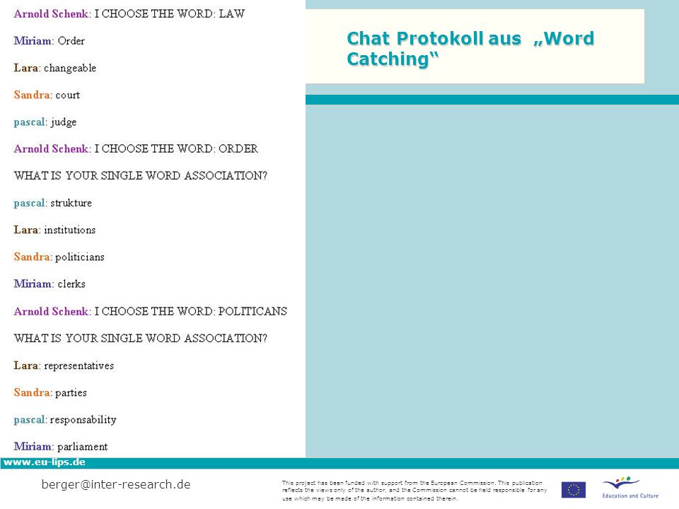 "Chat Protokoll aus ""Word Catching"