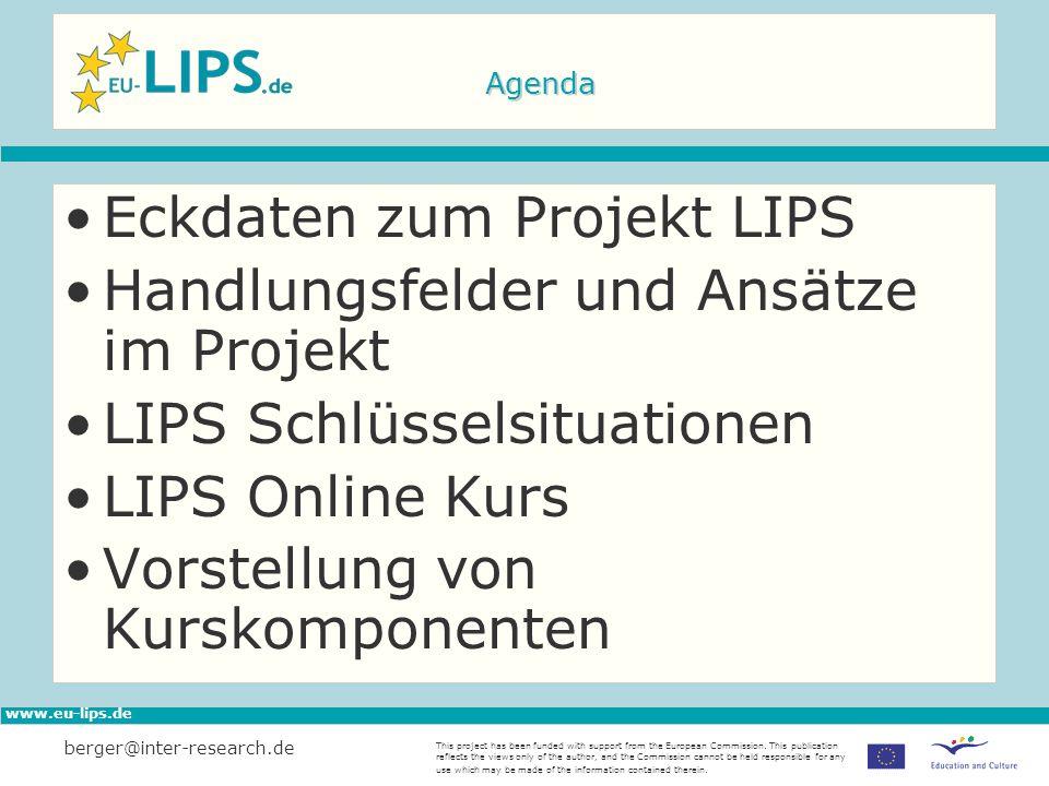 Eckdaten zum Projekt LIPS Handlungsfelder und Ansätze im Projekt