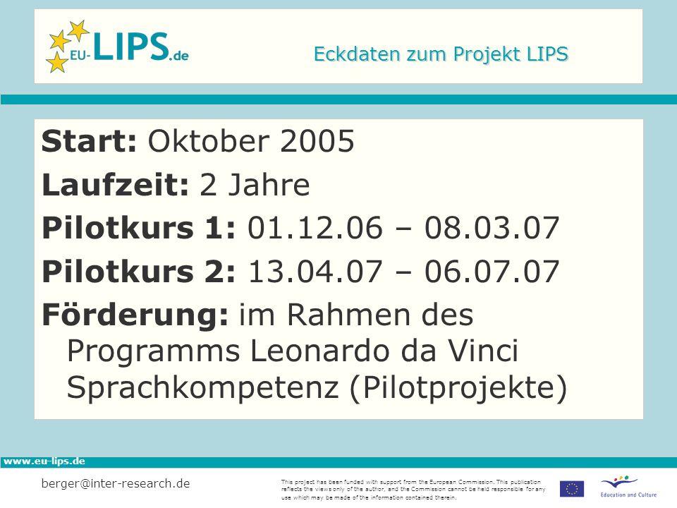 Eckdaten zum Projekt LIPS