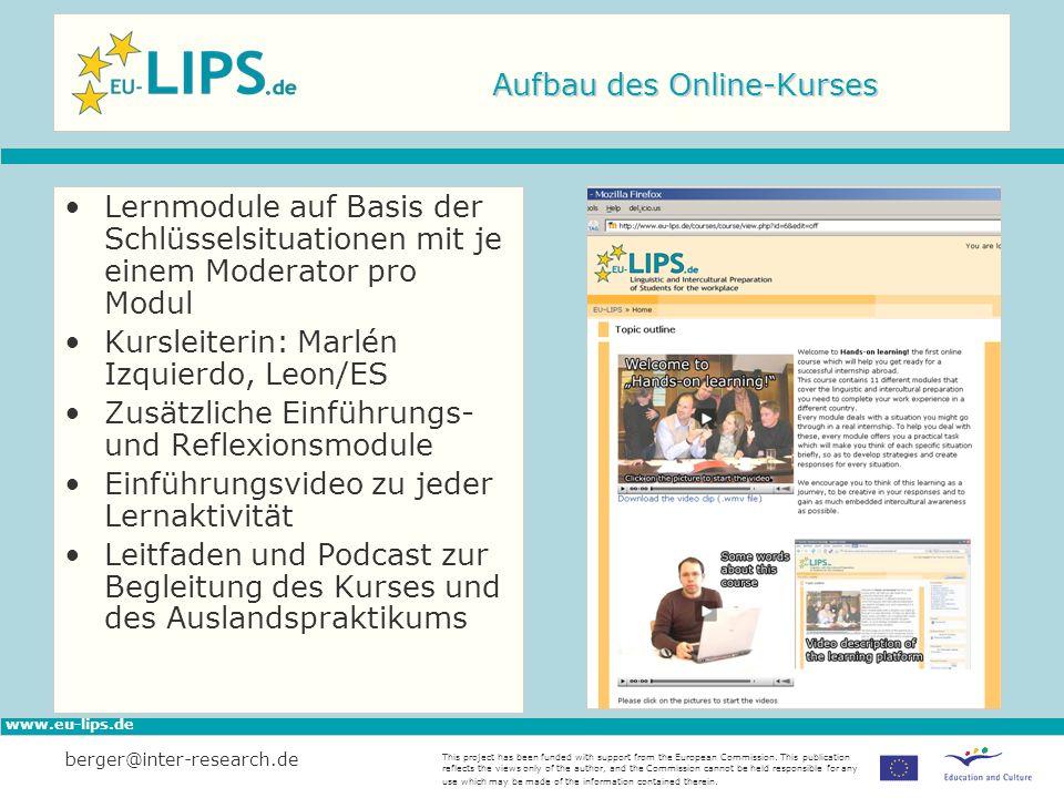 Aufbau des Online-Kurses