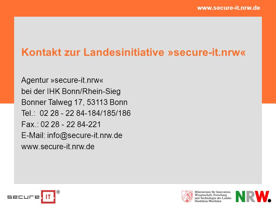 Kontakt zur Landesinitiative »secure-it.nrw«
