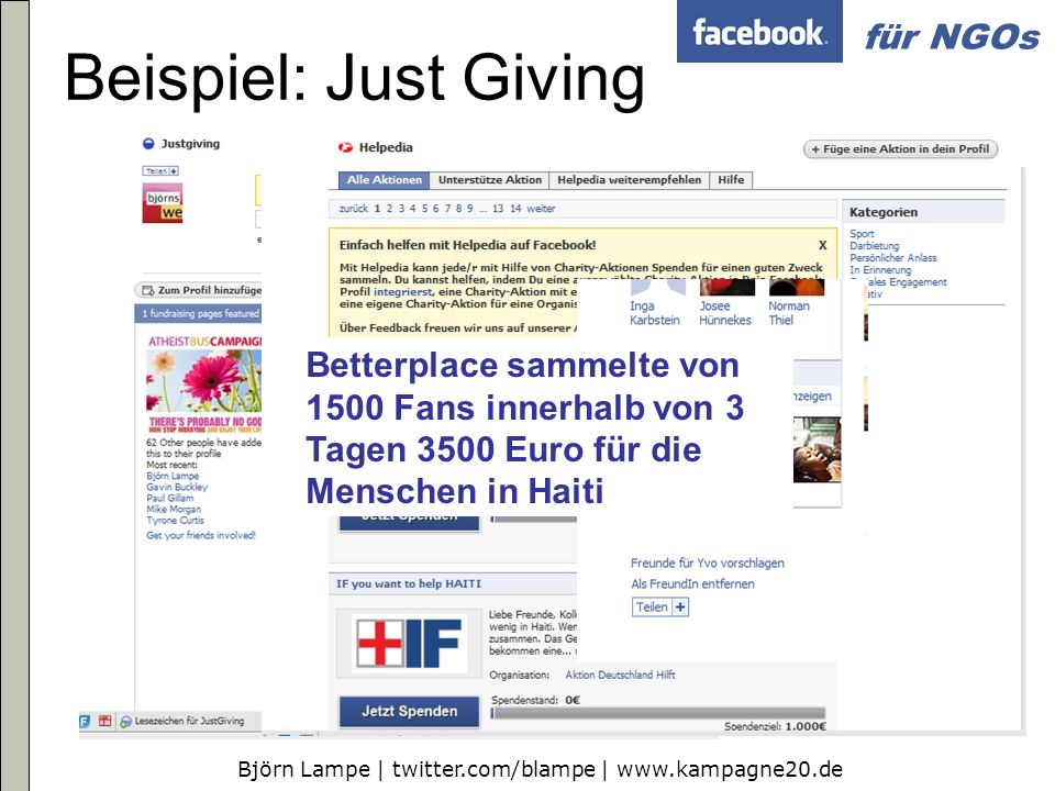 Beispiel: Just Giving Betterplace sammelte von 1500 Fans innerhalb von 3 Tagen 3500 Euro für die Menschen in Haiti.
