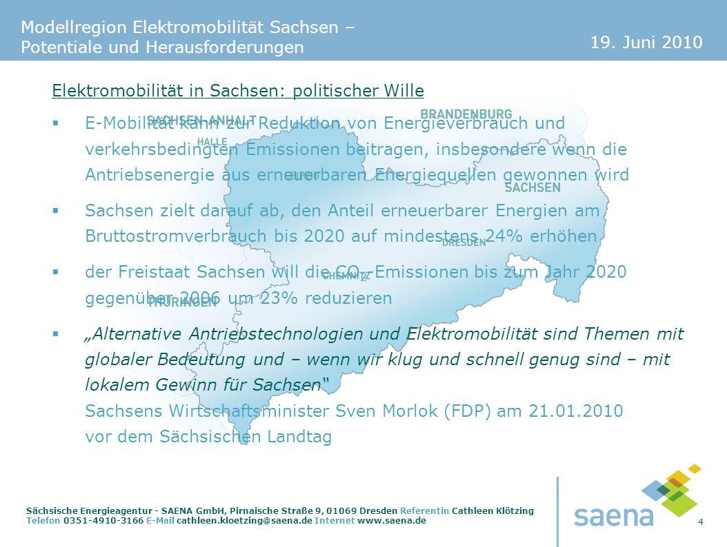 Elektromobilität in Sachsen: politischer Wille