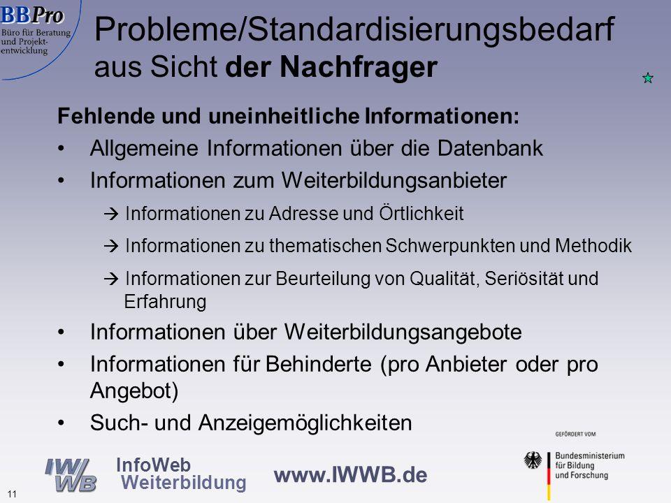 Probleme/Standardisierungsbedarf aus Sicht der Nachfrager