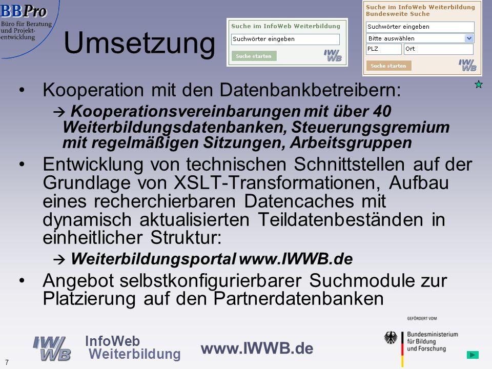 Umsetzung Kooperation mit den Datenbankbetreibern: