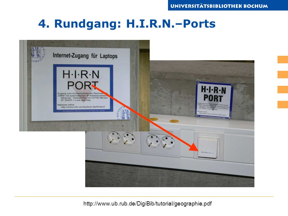 4. Rundgang: H.I.R.N.–Ports http://www.ub.rub.de/DigiBib/tutorial/geographie.pdf