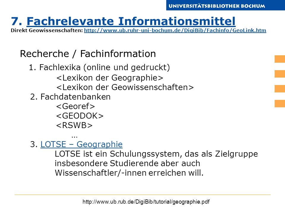 7. Fachrelevante Informationsmittel