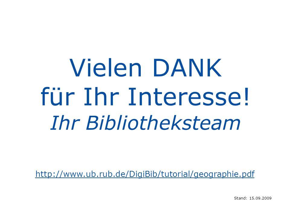 Vielen DANK für Ihr Interesse! Ihr Bibliotheksteam