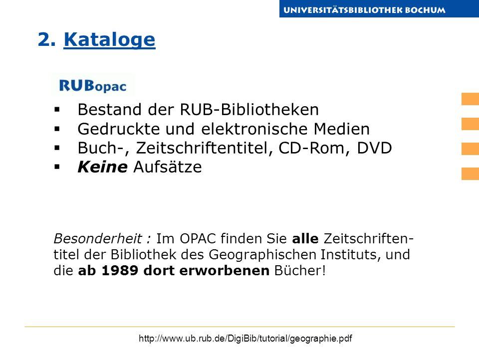 2. Kataloge Bestand der RUB-Bibliotheken