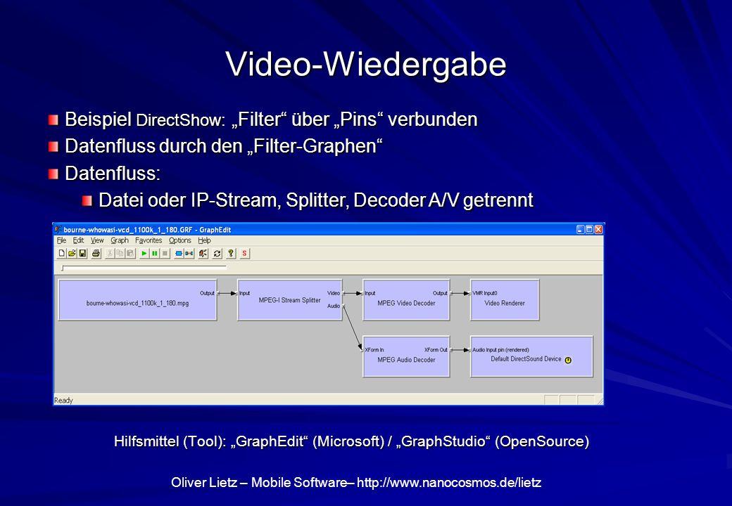 """Video-Wiedergabe Beispiel DirectShow: """"Filter über """"Pins verbunden"""
